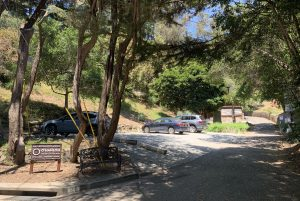 Photo of entrance to O'Hanlon Center parking lot.