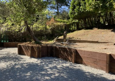 New retaining wall in upper sculpture garden