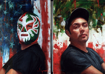 """Oscar Lopez Guerrero, """"Yo El Mexicano"""" (Diptych)–$2500"""