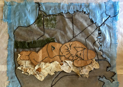 "Marilyn Geary, ""I Too was Once a Child with Dreams"", fiber: plastic tarp; wool, wrapping paper, newsprint, 48 x 48, $1200"