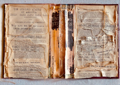 "Monica Lee, ""Divided States of America"", altered book/mixed media, 15 x 12, $500"