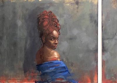 """OscarLopez,""""BloodLine"""",oilon   canvas, diptych,30 x 40each,$3500"""