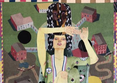 "Kristine McCallister, ""The Neighborhood"", collage on panel, 14 x 11, $500"