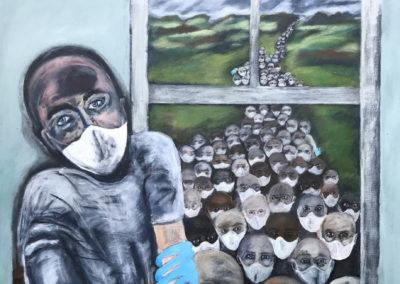 "Avrel Menkes, ""Corona Landscape"", acrylic & white charcoal pencil on canvas, 48 x 36, $3000"