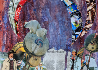 "Pamela Pitt, ""Free Market Open Borders"", collage from the Freedom Without Borders series, 18 x 24, $625"