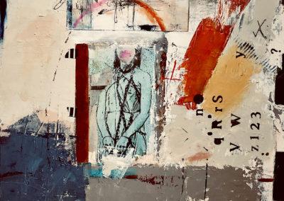"Roberta Welburn-Milstead, ""Age of Relevance"", acrylic-photo, 18 x 18, $475"