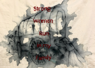 "Linda Belden, ""Strong Women Run in My Family"", painting and stitching on cotton, 16 x 14, $450"