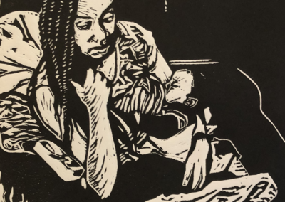 Esther Delaquis-Baidoo, Mother and Child 1, lino-cut and chine colle, 16 x 12, $600