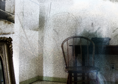 "Beth Fein, ""Quarantine Dream"", altered photo, pinhole photo, etching, screenprint, 24 x 24, $750"