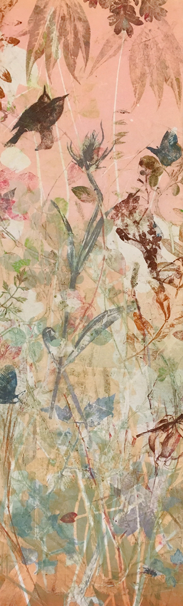 "Kathryn Kain, ""Back to the Garden"", 10 monotypes made using plants, 39 x 13, $900"