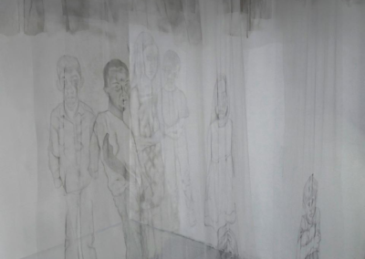 "Renee Kelly, ""Children of the Second Generation War Installation War"", graphite and spray paint on fabric, 84 x 96 x 72, NFS"