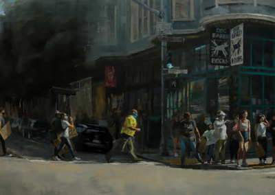 "Mila Kirillova, ""Protesters And Dog Eared Books"", oil on panel, 19 x 48, $2,500"