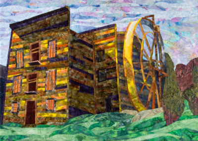 "Susan Lane, ""Old Bale Grist Mill"", fiber, 20 x 28, $600"