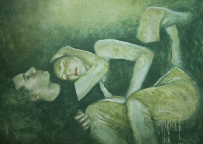 "Lucy Le Bohec, ""Weighted,"" oil on canvas, 36 x 48, $850"