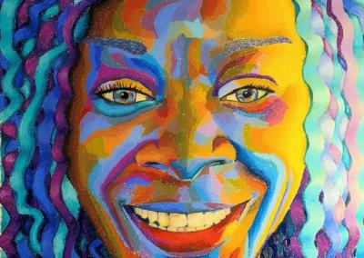 "Helen Lesnick, ""Sandra Bland"", pastel, 24 x 19, NFS"