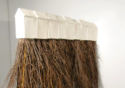 "Marianne McGrath, ""roots"", earthenware, tree roots, 72 x 6 x 48, $1,800"