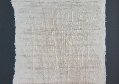 "Zona Sage, ""Asemic Love Letter"", fiber art, 10 x 8, $500"