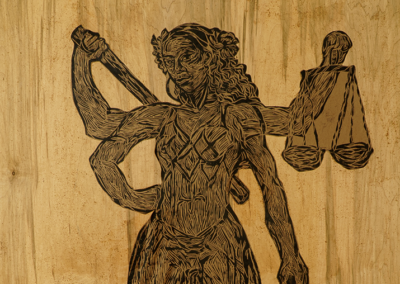 "Chiara Sarter, ""Lady Justice"", relief print and wheat-paste, 60 x 4, $500"