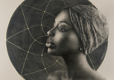 "Sara Siân, ""Kioni ('She Who Sees Beyond' in Swahili)"", charcoal, acrylic & gold leaf on canvas, 23.6 x 23.6, $570"