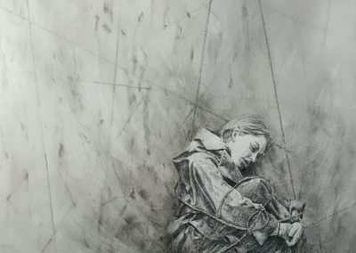 "Heather Stivison, ""Entangled"", charcoal and pencil on paper, 23 x 18, NFS"