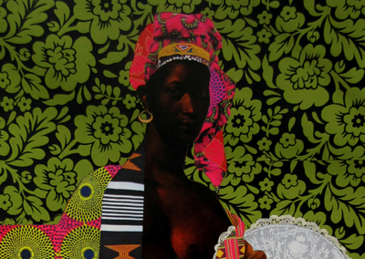"Rhonda Urdang, ""After Portrait of a Negress (1800)"" ,collage w/ hand-cut found paper, historical elements, doily, 30 x 26, $7,000"
