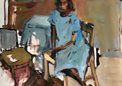 "Cate West Zahl, ""Judy (in studio)"", oil paint on paper, 30 x 20, $600"