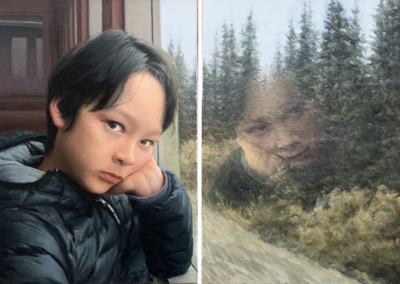 "Bing Zhang, ""A Boy on a Train"", oil on canvas, 20 x 28, NFS"