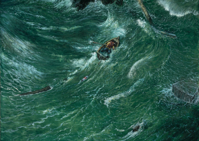 """Chester Arnold, """"Tempest"""" Oil on Canvas, 32x40, NFS"""
