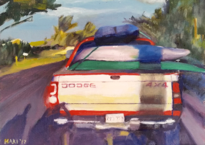 "Linda Maki ""Dodge, Lahaina"" Oil on Canvas Board, 9 x12, $200"