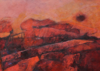 "Woodward Payne, "" RED: Version 2"" 24X48, acrylic, $2800"