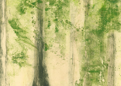 Light in the Forest, monotype, 30 x 22, 2019