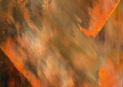 """Gail Caulfield, """"Smoke and Fire, #2"""" Painting, Oil and Cold Wax, 12x9, $450"""