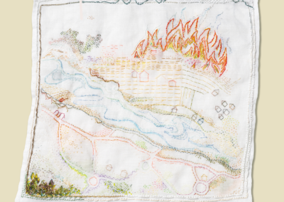 """Lucy Childs, """"Panic"""" Hand-embroidery on Linen, 13x13, $2200"""
