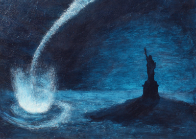 """Deborah Kennedy, """"Hard Rain: Waterspout and the Statue of Liberty"""" Acrylic Paint on Panel, 36x24x2, $1250"""