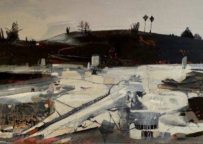"""Jamie Madison, """"Living on Earth"""" Acrylic, Oil and Charcoal on Panel, 30x40x2, $2800"""