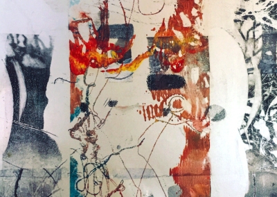"""Candis Cousins, """"And the living nations wait/ Each sequestered in its hate"""" Water-based Printing Ink on Photograph, 6 x 4, $250"""