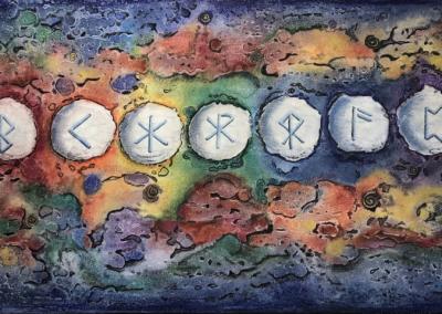 "Vicki Block, ""Rune Moons"" Monoprint-Pastel and Ink 9x15 $250"