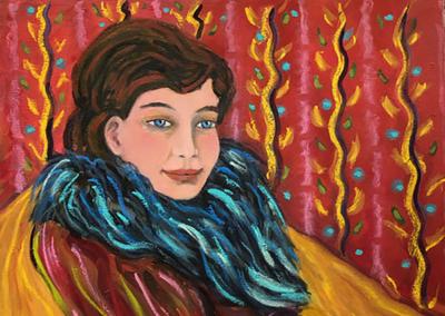 "Anne-Marie De Rivera, ""Blue Boa"" Oil on Linen 30x24 $1600"