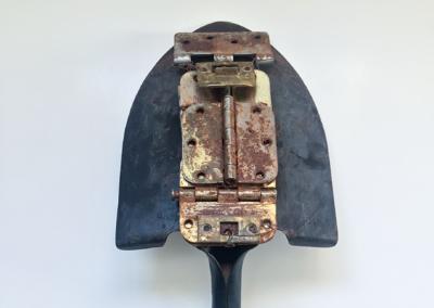 "Ann Dodge, ""Portrait of a Hard Worker"" Steel, Wood, Brass and Copper 23x9x4 $365"