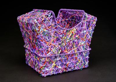 "Emily Dvorin, ""Stay Home"" Random Weave Basketry, Plastic, Lanyard, Ribbon, Satin Cord 13x16x10 $550"