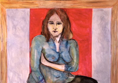 """Vickisa Feinberg, """"Waiting to Get Out of This Box"""" Mixed Water Media 15x14 $420 (unframed)"""