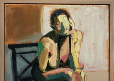 "Karen Folgner, ""SB"" Oil on Canvas, Framed 12x12 $810"