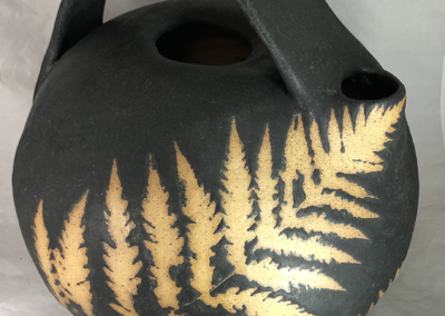 """Natascha Fraser, """"Rain Jug With Ferns - Pottery"""" Speckled Buff Clay and Black Matte Glaze 11x11 NFS"""