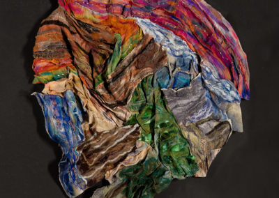 "Bonnie Himberg, ""California Parks"" Wet Felt Collage 60x48x4 $1250"