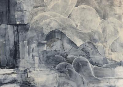 """Lynda Hirose, """"Untitled"""" Oil Paint on Cradled Wood Panel 36x36 $800"""