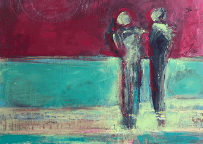"""Jenny Lawler, """"Couple on Path"""" Mixed Media: Acrylic, Found Papers 24x30 $350"""