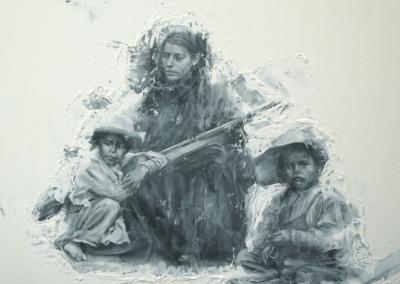 "Oscar Lopez, ""Los Olvidados"" (The Forgotten) Oil Resin, Graphite 4x5 $3000"