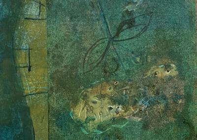 """Marilyn Mazer, """"Night Garden"""" Monoprint Collage 8x9 $150"""