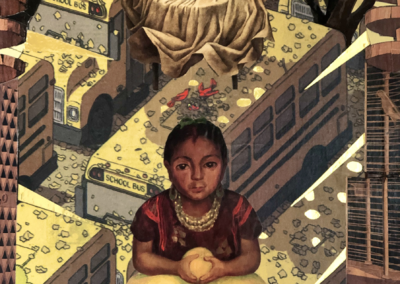 "Kristine McCallister, ""La Nina Curandera"" Collage on Birch Panel 16x12 $800"
