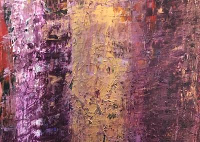 "Pat McCaron, ""The Golden Hour"" Acyrlic/iridescent Gold, Purple, White on Canvas 24x20 $1000"